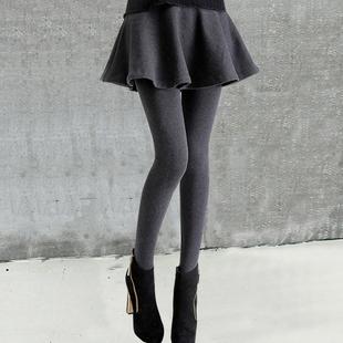 假两件打底裤裙裤女外穿秋冬加绒加厚纯棉显瘦连裤裙带裙子秋季潮