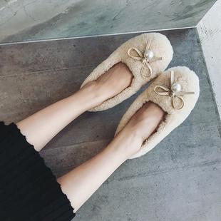 2018秋欧洲站欧货女鞋真皮羊羔毛水钻珍珠平底加绒单鞋豆豆鞋