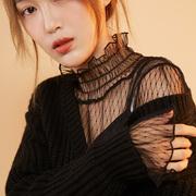 黑色网纱打底衫女长袖高领蕾丝内搭透视显瘦上衣白色性感透明小衫