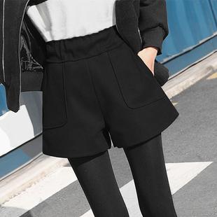 高腰毛呢短裤秋冬款2018黑色阔腿裤显瘦外穿宽松靴裤子女