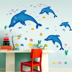 海豚系列可移除墙帖温馨可爱儿童房卧室田园PVC卡通动漫 平面贴纸