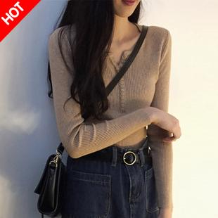 低领毛衣女秋冬很仙的心机上衣设计感内搭洋气百搭紧身针织打底衫