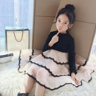 女童连衣裙2018冬装童装中大童网纱裙时髦公主裙儿童裙子