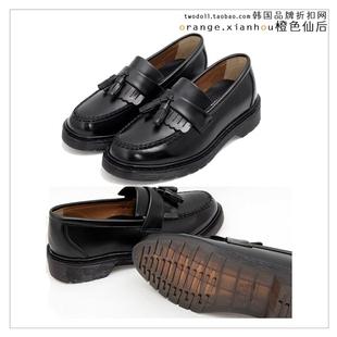 春秋季潮款韩国进口英式风格潮流男士套脚流苏装饰皮鞋
