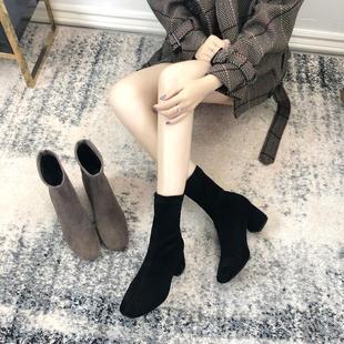 2018秋冬网红短靴百搭方头弹力靴加绒粗跟瘦瘦靴袜子靴马丁靴