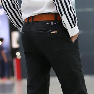 男士裤子冬季直筒百搭加厚不加绒棉麻裤男青年商务秋冬款