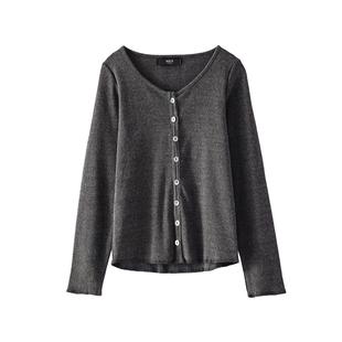 针织衫外套女2018秋长袖气质T恤黑色短款ins超火的上衣