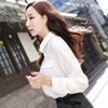 彩黛妃2018春夏女装打底长袖雪纺衬衫上衣衬衣