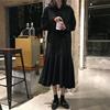 秋季2018女装连衣裙宽松中长款A字裙高腰黑色pp home裙子长裙