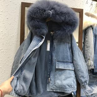 2018冬真狐狸大毛领连帽獭兔毛学生牛仔加绒中长款外套女