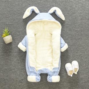 婴儿冬装衣服抱衣6个月男童5女宝宝7加厚保暖2纯棉连体衣8秋冬爬