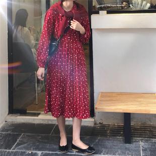 2018秋冬小清新波点翻领百褶连衣裙女气质高腰套头中长裙