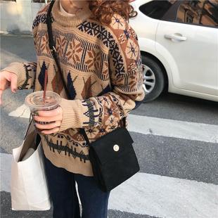 秋冬韩国复古chic拼色花纹加厚针织衫宽松圆领长袖毛衣外套女