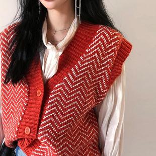 宽松拼色针织马甲秋装女装红色v领毛衣无袖开衫外套