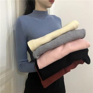 半高领毛衣女套头长袖打底衫秋冬季上衣纯色紧身针织衫潮