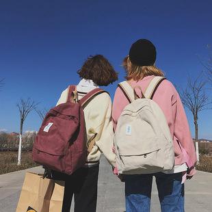 古着感书包女ins帆布背包双肩包2018原宿ulzzang高中学生