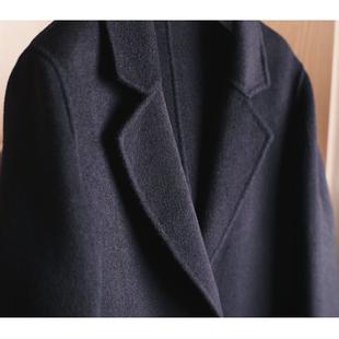 明星18黑色过膝双面绒羊绒呢子大衣中长款羊毛呢外套女冬