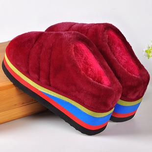 秋冬季棉拖鞋女厚底坡跟室内居家保暖半包跟泡沫底松糕跟手工拖鞋
