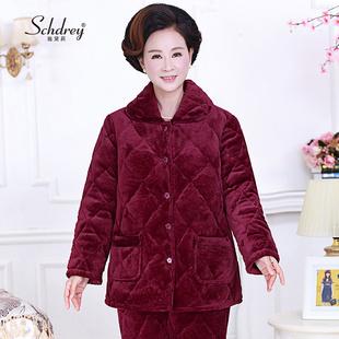 冬天中老年人睡衣女法兰绒夹棉加厚妈妈套装冬季珊瑚绒中年家居服