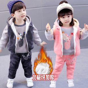 女童冬装套装20181-2-3-8岁宝宝加绒加厚卫衣三件套秋冬洋气4