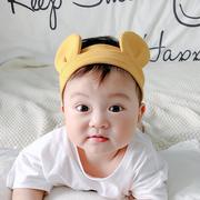 网红婴儿发带护囟门帽可爱男女宝宝熊耳朵头箍头饰纯棉夏季薄款