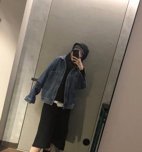 elielim 短款牛仔外套女秋冬2018学生直筒翻领长袖牛仔衣