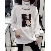 欧洲站高领加绒打底衫女长袖欧货重工印花中长款t恤女上衣潮