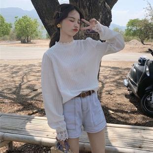 2019秋甜美少女蕾丝拼接长袖衬衫女宽松显瘦气质衬衣ins上衣
