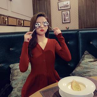 2019过年衣服女装红色针织连衣裙喜庆很仙的法国小众裙子秋冬
