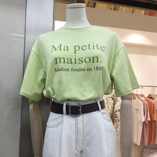 韩国ulzzang2019春装宽松圆领字母印花T恤女百搭短袖上衣