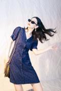 蓝波点公主V领少女短袖轻熟连衣裙女EELMOOR独立设计原创2021夏