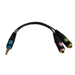 【直营品牌】森海塞尔电脑耳机转接头hjc888黄金城 二合一转接头音频线一分二话筒电脑手机耳麦转换器