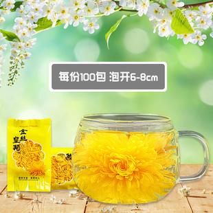花丘菊花茶100包 金丝皇菊黄菊一朵一杯大黄菊黄山胎菊花草茶茶叶