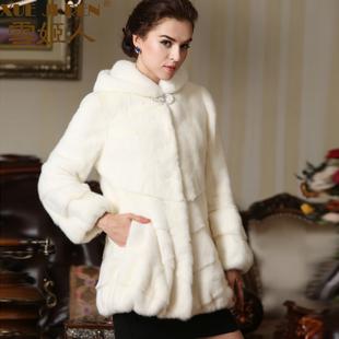 雪姬人2014女士整貂中长款貂皮大衣皮草水貂裘皮外套
