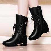 2020秋冬季坡跟加厚底加绒棉鞋真皮鞋马丁中筒靴女靴子女鞋子