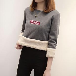 羊羔绒加厚保暖绒衫女套头冬装宽松字母加绒毛卫衣女外套