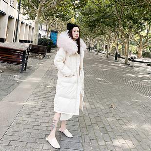 羽绒服女 2018中长款大毛领女装白色小个子过膝外套
