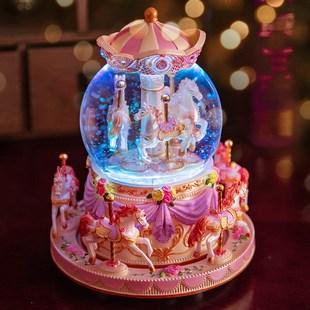 旋转木马音乐盒八音盒水晶球生日礼物女生送女友女孩学生天空之城