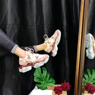 欧洲站2019春运动松糕鞋真皮拼色百搭厚底老爹鞋女ins潮