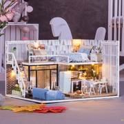 可爱diy小屋浪漫爱琴海玻璃球diy 迷你 小屋拼装房子玩具手工房
