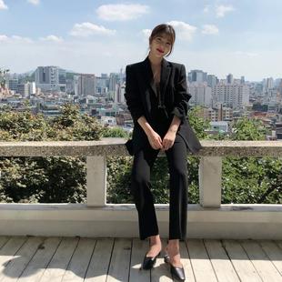 秋冬职业工装两件套女时尚黑色小西装外套ol小西装套装