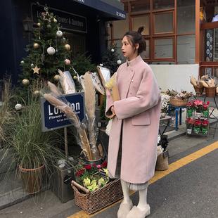 珍珍家定制粉色长款毛呢大衣女冬2018流行小个子过膝呢子外套