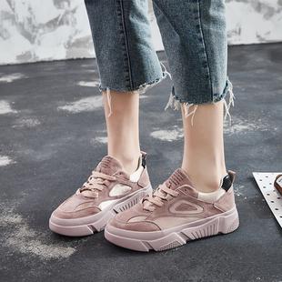 2019春真皮松糕鞋女百搭学生厚底运动鞋低帮女鞋单鞋