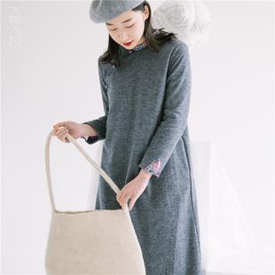 不蔓不枝乐葵超显瘦双层连衣裙薄羊毛复古改良旗袍文艺恬静女
