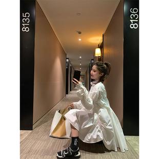 很仙的法国小众连衣裙2019女装过年衣服白色衬衫娃娃裙a字裙