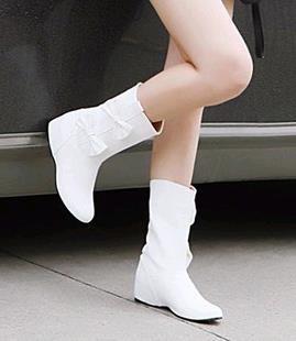 单靴靴子女春秋短靴 中跟 秋季女鞋 平底 内学生白色2014