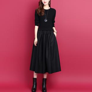 2021秋冬韩版气质假两件拼接中长款显瘦打底羊毛针织连衣裙女
