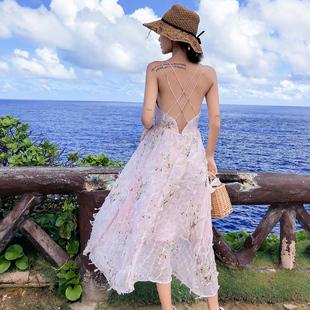 吊带长裙沙滩裙超仙普吉岛泰国海边度假露背连衣裙仙女裙chic温柔