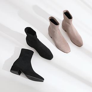 瘦瘦靴女2018网红粗跟小短靴女中跟方头袜靴加绒秋冬女鞋大码