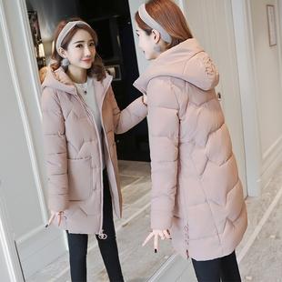 羽绒棉服女2018百搭加厚女式棉袄中长款冬季棉衣外套